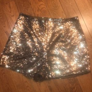 Brand New Gold Charlotte Russe Sparkling Shorts